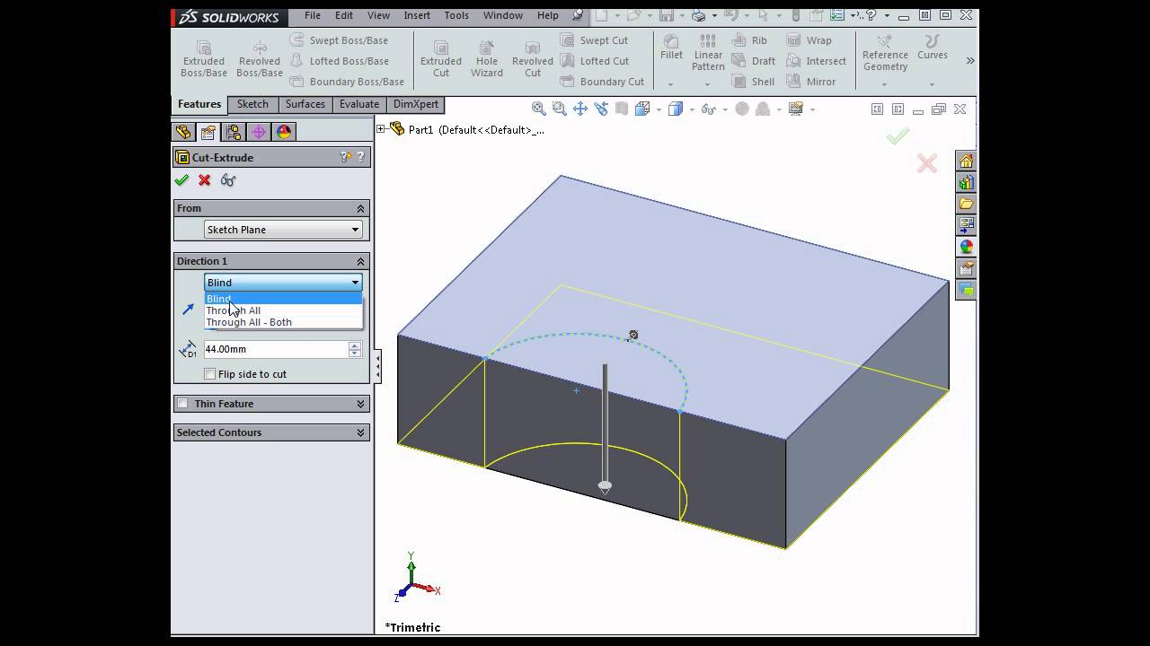 create cut features with open profiles solidworks tutorials youtube