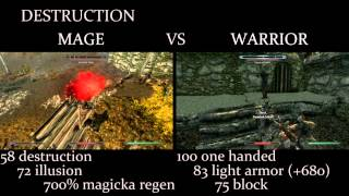 Skyrim - Mage vs. Warrior comparison /w commentary