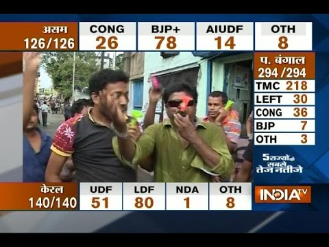 TMC Supporters Celebrating Mamta Banerjee's Victory in West Bengal Assembly Elections 2016