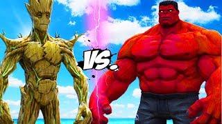 BIG RED HULK VS BIG GROOT - EPIC BATTLE