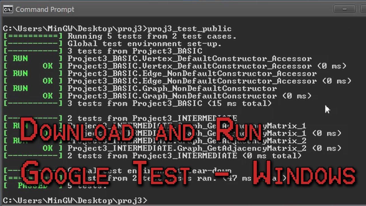 Setup Google Test for Windows (UMBC CMSC)
