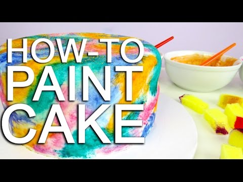 How To PAINT A Watercolour Cake Using Food Colouring! - YouTube