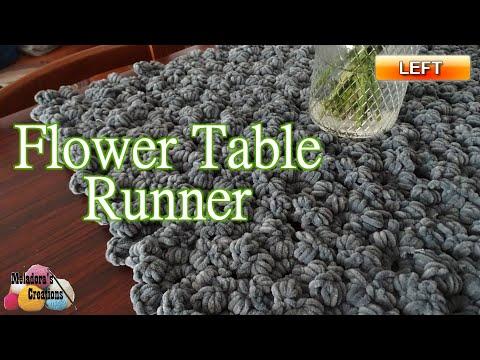 how-to-crochet-a-flower-table-runner---left-handed---crochet-puff-flower-tutorial