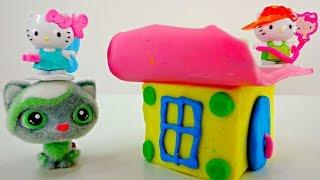 Видео с игрушками: Домик из пластилина для Hello Kitty