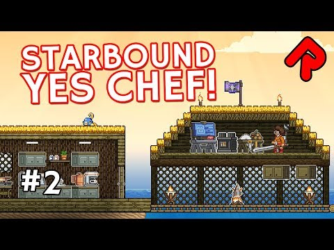 Building an Ocean Tiki Bar! | Let's play Starbound Yes Chef! ep 2 (Yes Chef & More Farming mods)