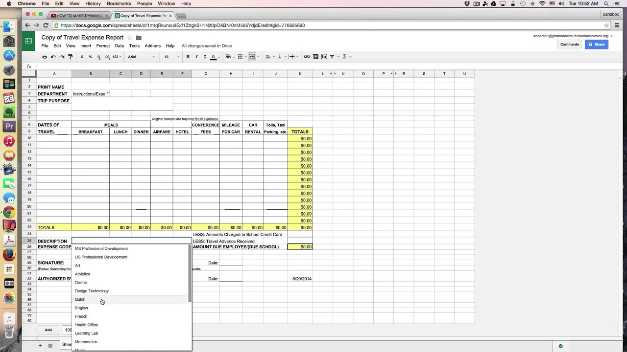 Demonstration Travel Expense Reports With Google Sheets