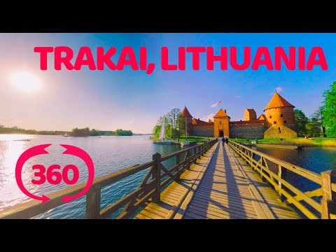 Lithuania, bridge to Trakai castle. VR 360 video.