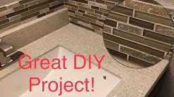Installing a Glass Mosaic Tile Backsplash in the Bathroom