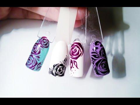Дизайн Ногтей по мокрому фону✦Абстрактная роза✦Ksana Groza. Nail Art Blog