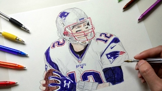 Tom brady drawing with ballpoint pen - patriots