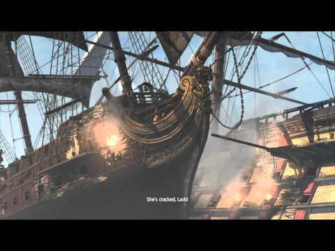 Assassins Creed Black Flag sinking a Man O War with Blackbea