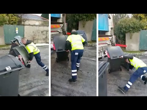 Bin Men Struggle To Work On Icy Road