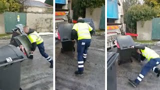 Bin Men Struggle To Work On Icy Road