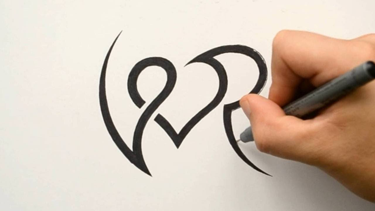Combining Initials V And R With A Heart Tattoo Design