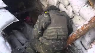 Донбасс  18 Позиции Украинских военных после обстрела из РСЗО «Град»  Февраль 2015