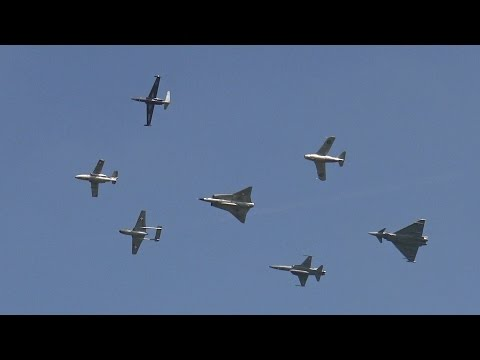 Austrian Airpower 2016 | Historic Jet Formation | Eurofighter, Saab Draken, etc.