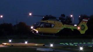 Eurocopter EC-135 engine start, take off and night landing at Budaörs Medical Base
