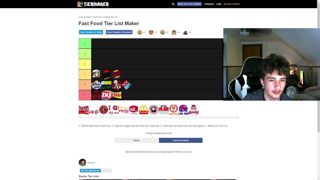 Fast Food Tier List - YouTube