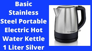 Basic Stainless Steel Portable Electric Hot Water Kettle 1 Liter Silver