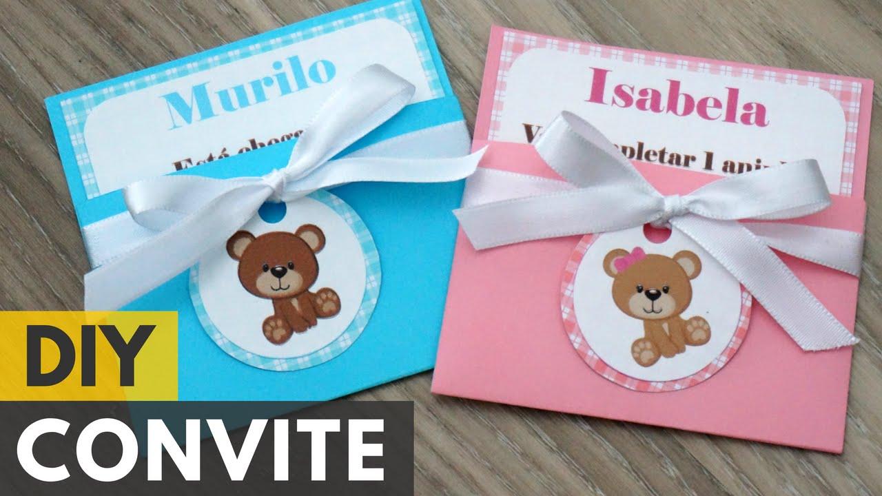 Convite De Aniversário Ou Chá De Bebê De Ursinhos Diy Faça Você