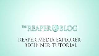 REAPER Media Explorer Beginner Tutorial