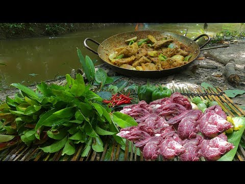 Cooking Yummy Meat Sour Soup In Forest Eating Delicious