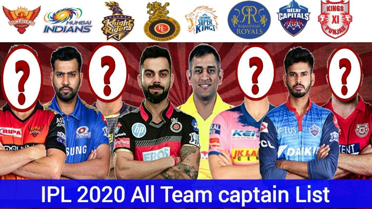 Fair Play Award 2020 Ipl.Ipl 2020 All Team Captain For Ipl 2020 Kkr Csk Rcb Srh Mi Rr Kxip Dc Ipl Team Captains