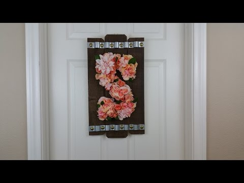 Floral Letter, Monogram Wreath on Rustic Door / Wall Hanger