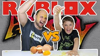 EGGED ON CHALLENGE / DAD VS SON in ROBLOX ASSASSIN / Gross Messy Real Food Eggs