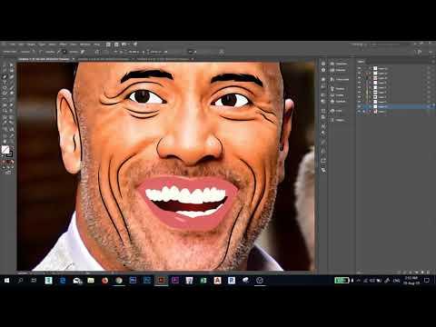 "Draw Dwayne Johnson "" the rock "" Using illustrator | Adobe Illustrator TUTORIAL thumbnail"
