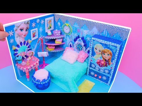DIY Miniature Dollhouse Bedroom for Disney Frozen Elsa