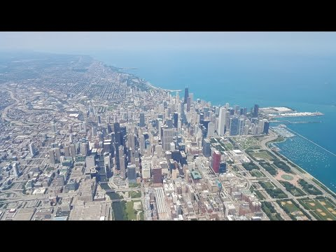 Flying over downtown Chicago from Midway Airport 7-22-2015