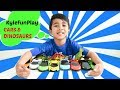 Playing Race Cars | Dinosaurs for Kids | Learning Colors and Counting