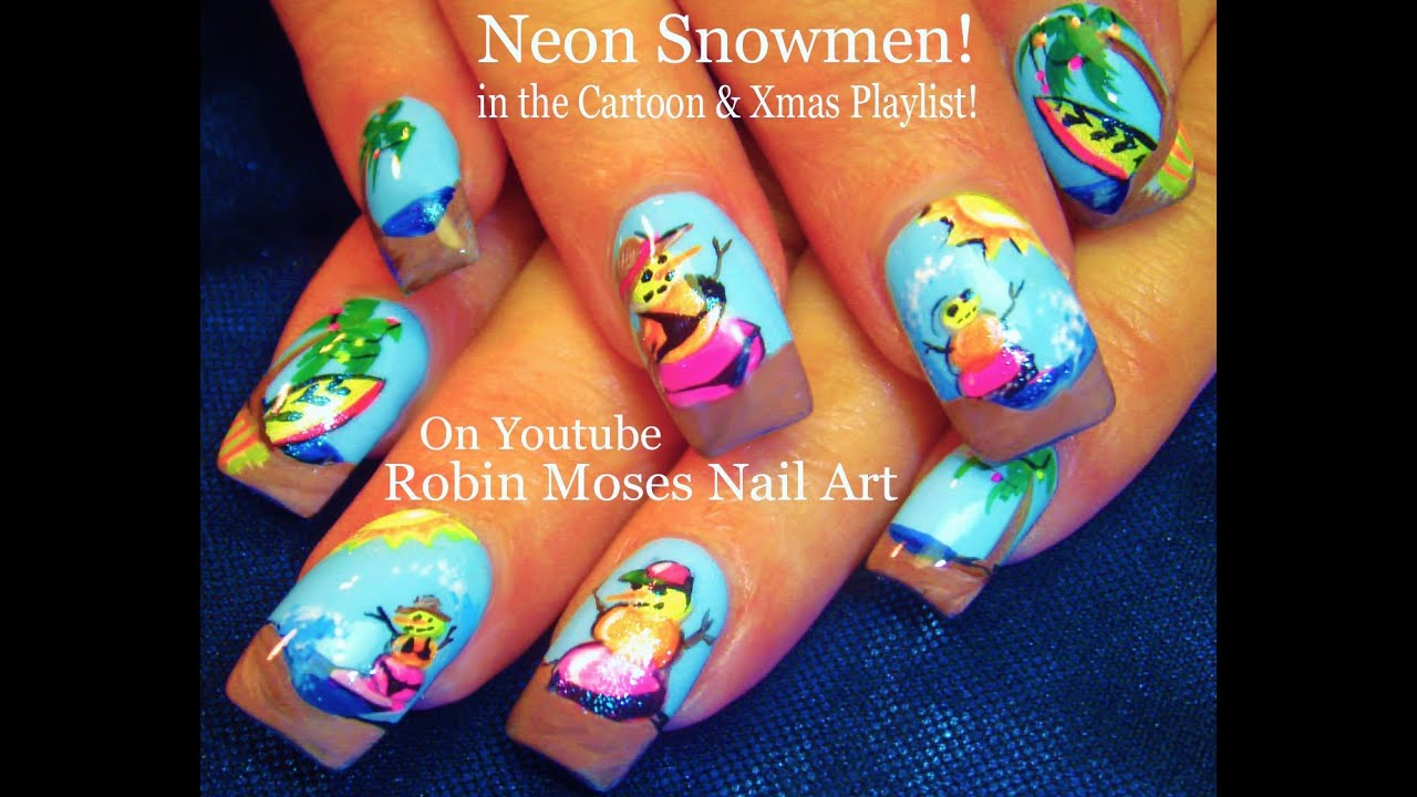 Nail Art Tutorial | Neon Snowman Nails | Summer Fun Nail Design ...