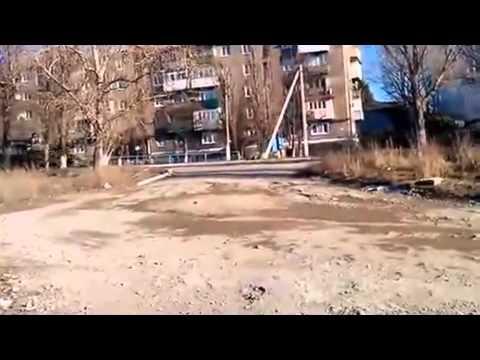 Donbass,Yenakievo,The column of armored vehicles of the People's Militia 23.02.2015,Ukraine War