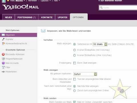 Tutorial 5 - Yahoo Emaileinstellungen