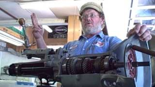 John Twist uses cutaway MG Transmission for demonstration at Brit Bits, Inc.