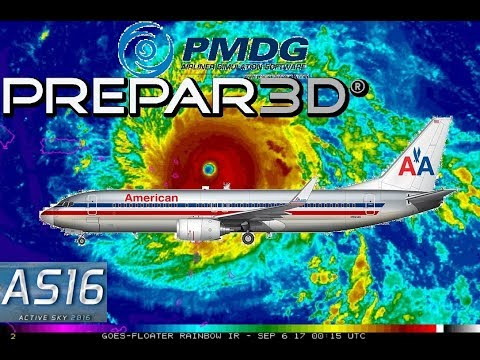 PMDG 737 (P3D) at TNCM with ActiveSky16 during Hurricane Irma