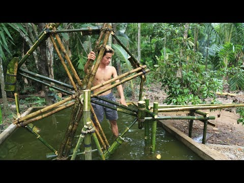 Primitive Technology: How to build Bamboo Waterwheel