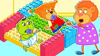 Lion Family and Friends Build Beds with Lego | Cartoon for Kids