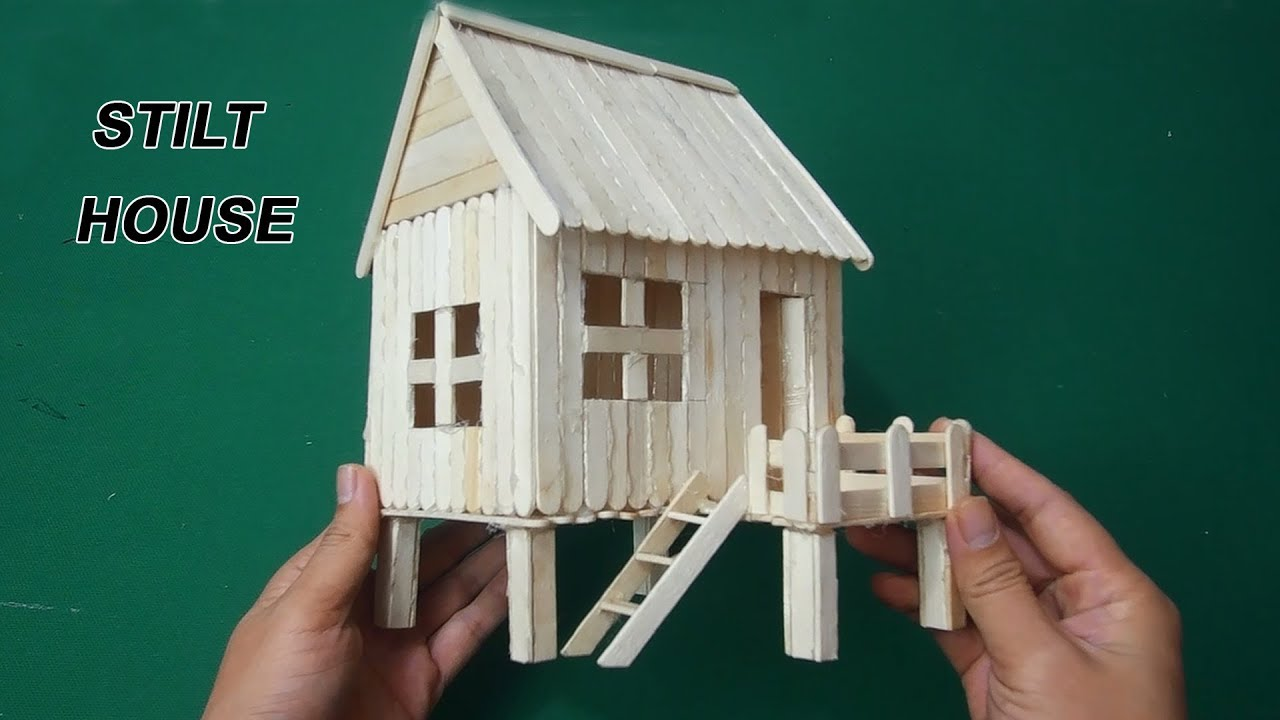 How To Make Ice Cream Stick House Easy Stilt House