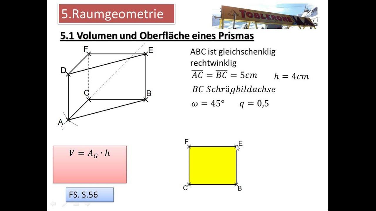 5.1 Volumen und Oberfläche eines Prismas - YouTube