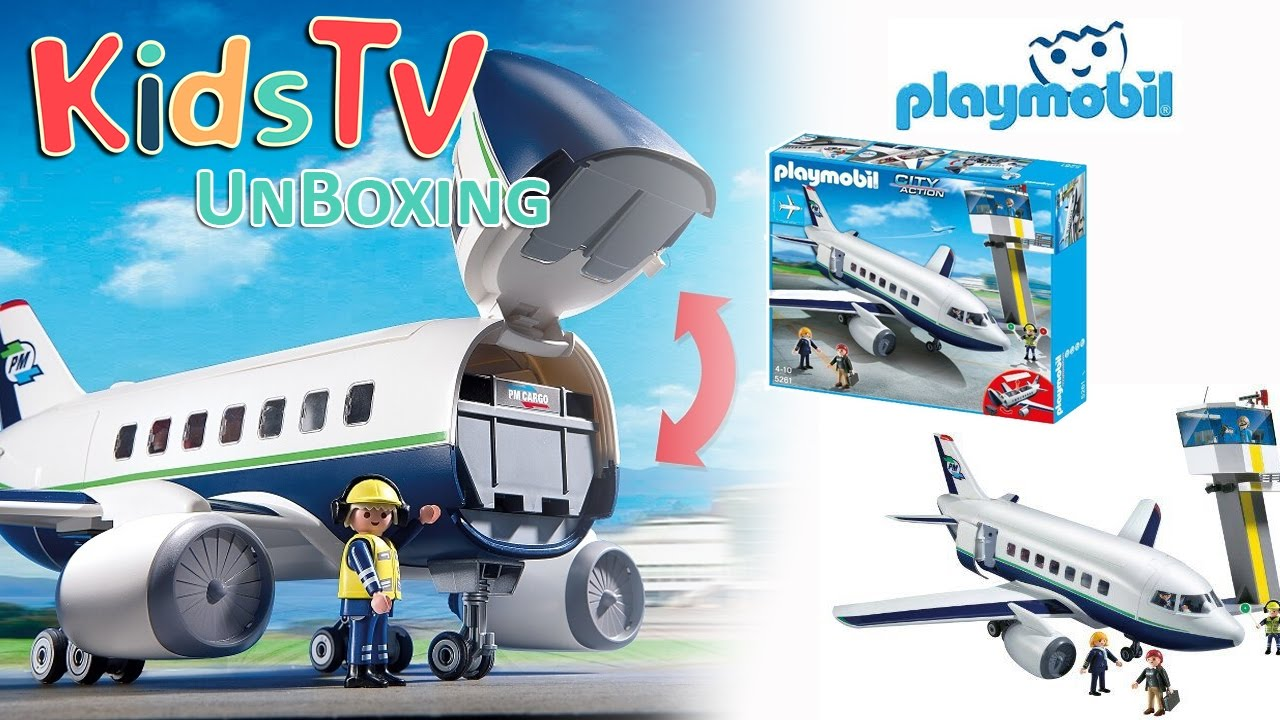 playmobil 5261 cargo and passenger aircraft unboxing and playtime