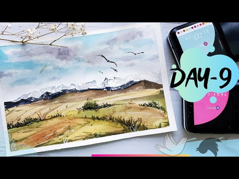 Serene Landscape painting | Day-9 | watercolor beginner landscape tutorial
