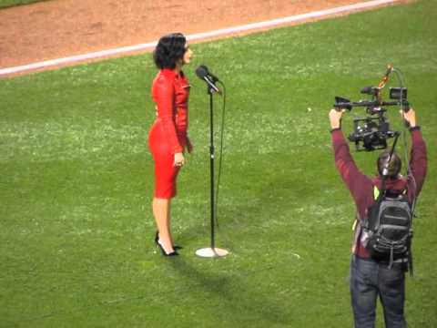 Demi Lovato sings the National Anthem Before 2015 World Series Game 4