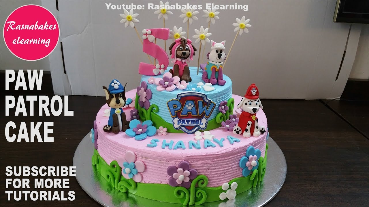 Paw Patrol Birthday Cake For Girls 3d Toys Fondant Figures Whipped Cream Icing Decorating Tutorial