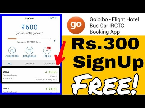 Get Rs 300 free go cash by Goibibo #book your train,hostel