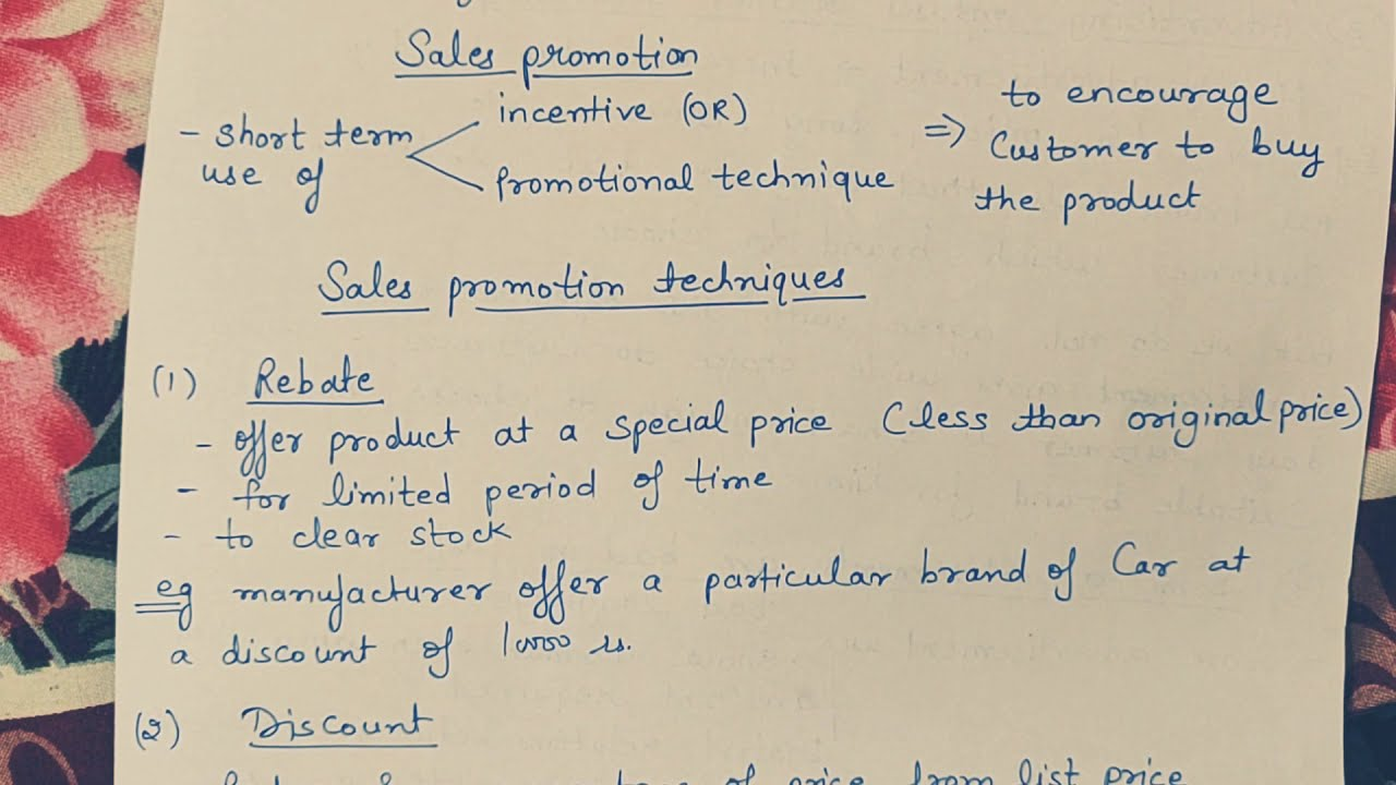 sales promotion  meaning and techniques  class 12