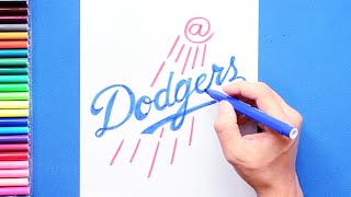 How to draw and color the LA Dodgers Logo - MLB Team Series