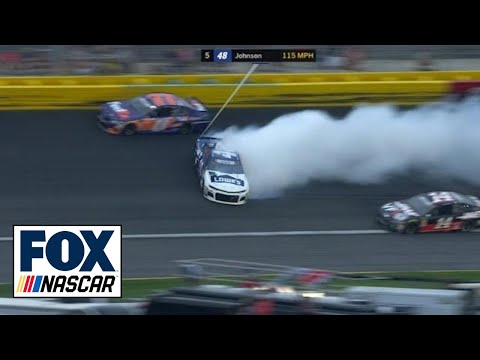 Jimmie Johnson spins after contact from Denny Hamlin | 2018 CHARLOTTE | FOX NASCAR